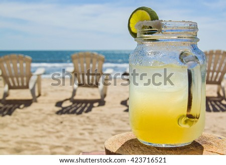 Margarita on the Beach in Mexico - stock photo