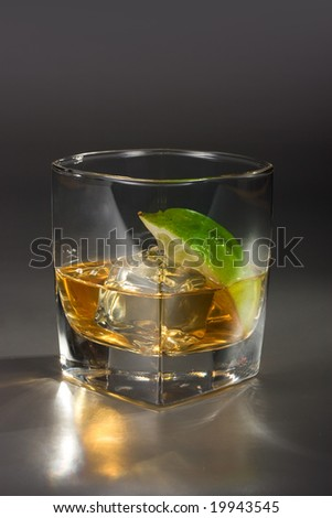 Margarita on the Rocks or Scotch on the rocks on grey background - stock photo