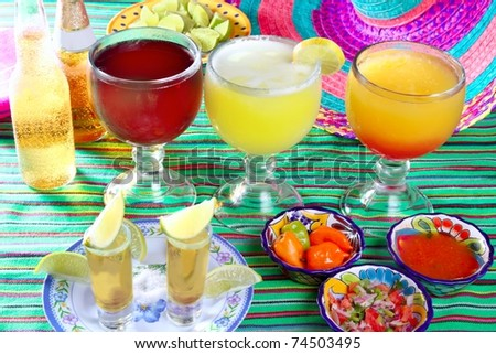 margarita sex on the beach cocktail beer tequila Mexico drinks beverages - stock photo