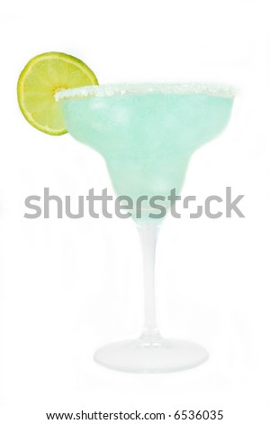 margarita with lime isolated on white