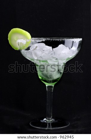 margarita with lime on black
