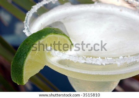 Margarita with salt and lime with palm tree in background. - stock photo