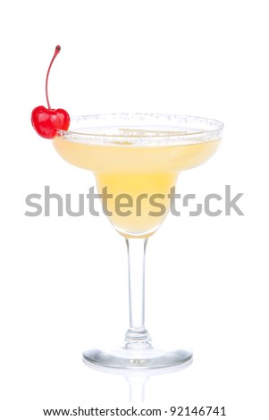 Margarita yellow cocktail in chilled salt rimmed glass with tequila, orange syrup, cherry, crushed ice in cocktails glass isolated on white background - stock photo