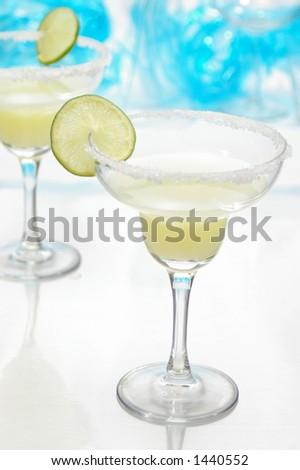Margaritas. Selective focus on lime slice. - stock photo