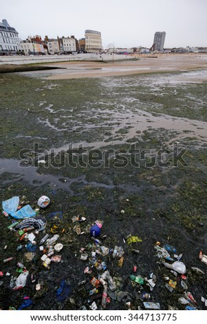 MARGATE, KENT, UK, 11 AUG 2015.  Editorial Photograph of Beach Litter. In addition to local economic impacts, coastal and marine litter can have a devastating effect on wildlife. - stock photo