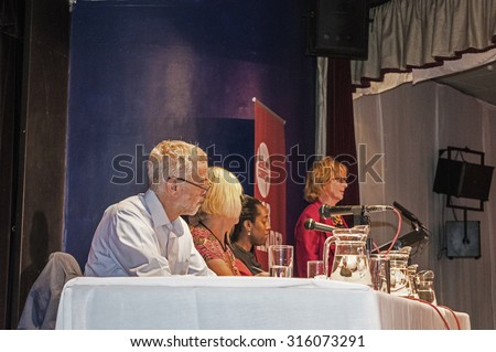 MARGATE, UK-SEPTEMBER 5: Jeremy Corbyn, now Labour Party Leader, heads the panel at the rally in Margate's Winter Gardens. September 5, 2015, in Margate, Kent UK - stock photo