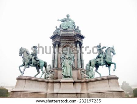 Maria Theresa memorial in Vienna - stock photo