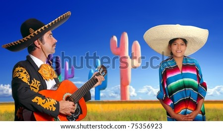 mariachi charro playing guitar mexican poncho girl cactus Mexico [Photo Illustration]