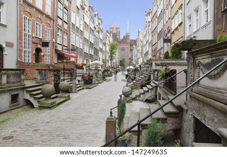 Mariacka Street in the Old Town of Gdansk, Poland - stock photo