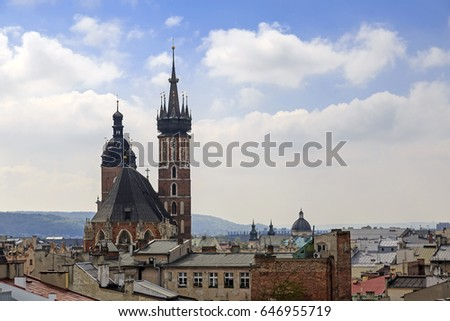 Mariacki cathedral view from the top of the building, skyline, Krakow, Poland