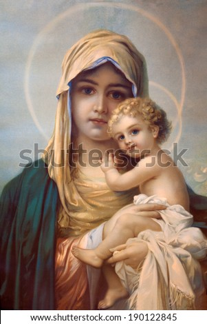 MARIANKA, SLOVAKIA - DECEMBER 4, 2012: Mother of God. Typical catholic print image by anonymous author from the beginning of the 20th century in parish building of Marianka. - stock photo