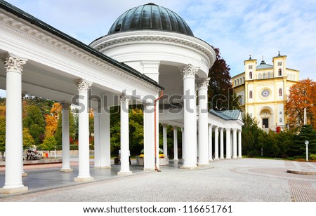 Marianske Lazne Spa, Carolina's Spring pavilion and colonnade, Czech Republic, Europe - stock photo