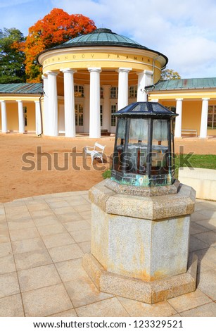 Marianske Lazne Spa, Ferdinand's Spring pavilion, Czech Republic, Europe - stock photo