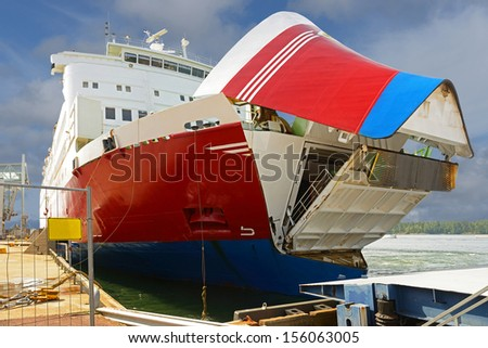 MARIEHAMN, FINLAND-JULY 27:Cruise ship  Rosella arrives in Mariehamn, Finland  on July 27, 2013.Viking Line is Finnish shipping company that operates cruiseferries between Finland, Sweden and Estonia - stock photo