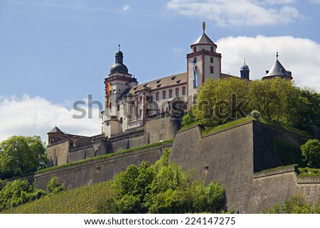 Marienberg Castle on top of the hill in Wurzburg, Germany - stock photo
