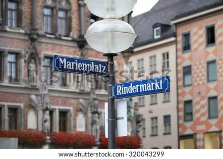 Marienplatz and Rindermarkt  street and square name on the Marienplatz in Munich, German - stock photo