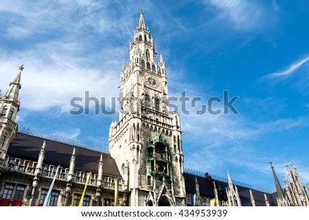 Marienplatz town hall of Munich in Germany - stock photo