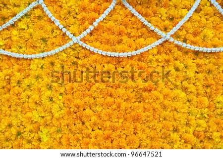 Marigold flower decoration , thailand    ( Tagetes erecta ) and Crown Flower  ( Calotropis gi - stock photo
