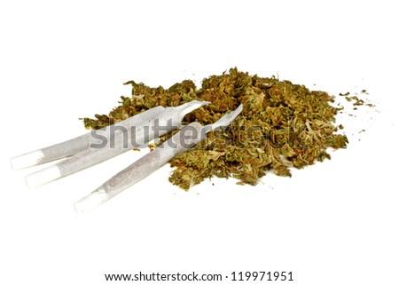 Marihuana joints with marihuana - stock photo