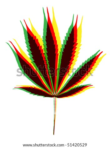 marihuana leaf on white background - stock photo