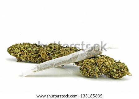 Marihuana on a white background - stock photo