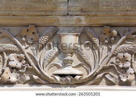 MARIJA BISTRICA, CROATIA - JULY 14: Architectural artistic decorations on basilica Assumption of the Virgin Mary in Marija Bistrica, Croatia, on July 14, 2014 - stock photo