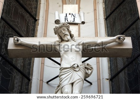 MARIJA BISTRICA, CROATIA - JULY 14: Crucifixion, Basilica Assumption of the Virgin Mary in Marija Bistrica, Croatia, on July 14, 2014 - stock photo