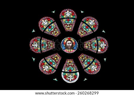 MARIJA BISTRICA, CROATIA - JULY 14: Jesus, stained glass window in Basilica Assumption of the Virgin Mary in Marija Bistrica, Croatia, on July 14, 2014 - stock photo
