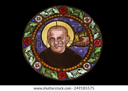 MARIJA BISTRICA, CROATIA - JULY 14: Maximilian Kolbe, stained glass window in Basilica Assumption of the Virgin Mary in Marija Bistrica, Croatia, on July 14, 2014 - stock photo