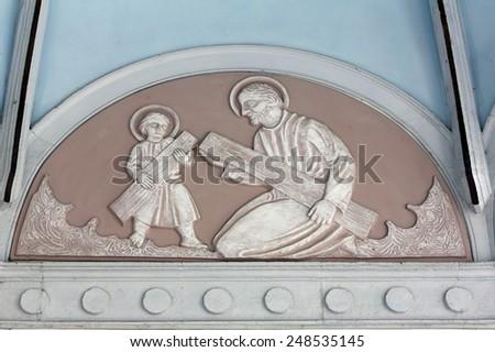 MARIJA BISTRICA, CROATIA - JULY 14: Saint Joseph with child Jesus, Basilica Assumption of the Virgin Mary in Marija Bistrica, Croatia, on July 14, 2014 - stock photo