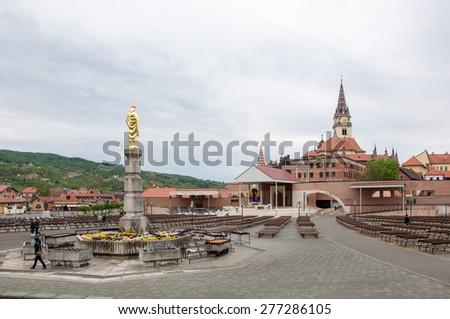 Marija Bistrica, Croatia - May 1, 2015: Basilica of the Assumption of the Virgin Mary in Marija Bistrica. - stock photo