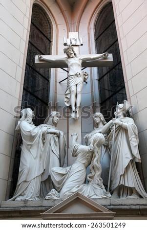 MARIJA BISTRICA, CROATIA - OCTOBER 26: Crucifixion, Basilica Assumption of the Virgin Mary in Marija Bistrica, Croatia, on October 26, 2013 - stock photo