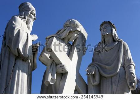 MARIJA BISTRICA, CROATIA - OCTOBER 26: 2nd Stations of the Cross, Jesus is given his cross, pilgrimage Sanctuary, Assumption of the Virgin Mary in Marija Bistrica, Croatia, on October 26, 2013 - stock photo