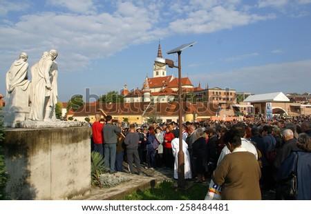 MARIJA BISTRICA, CROATIA - SEP 14: Unidentified participants of the Way of the Cross in Croatian national shrine of the Virgin Mary on Sep 14, 2013 in Marija Bistrica, Croatia - stock photo