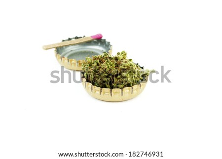 Marijuana  and Alcohol, Objects on White Background, Medical and Recreational Weed - stock photo