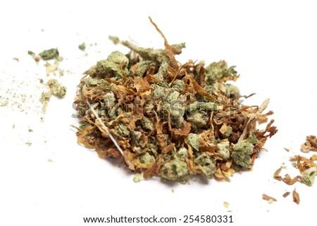 Marijuana and Cannabis, White Background  - stock photo