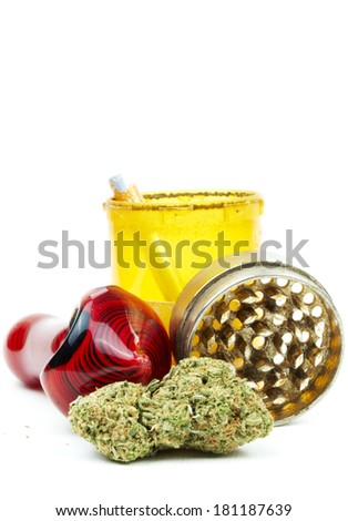 Marijuana and Pipe, White Background