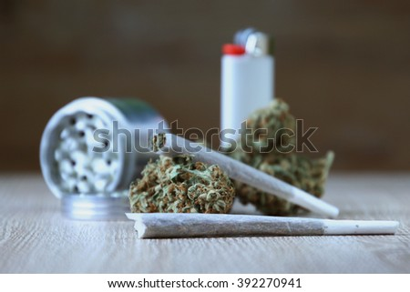 Marijuana Bud With Joints - stock photo