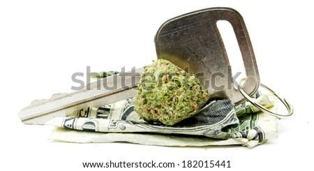 Marijuana Car Key Driving  - stock photo
