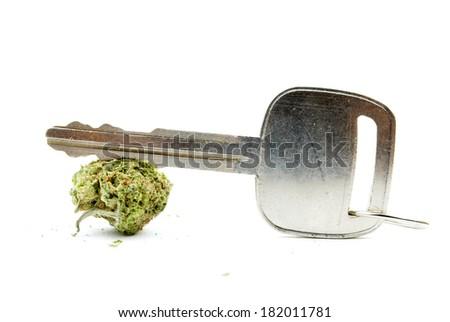 Marijuana, Driving Car Key - stock photo