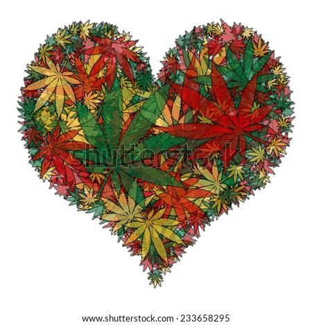 Marijuana heart - stock photo