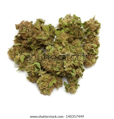marijuana isolated on white background - stock photo