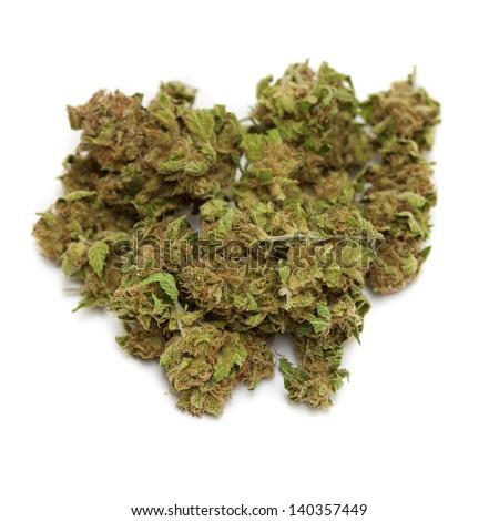 marijuana isolated on white background - stock photo