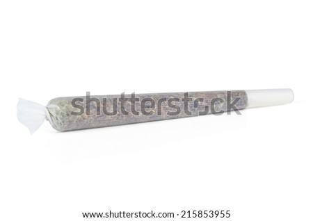 Marijuana joint from Amsterdam isolated on white background - stock photo