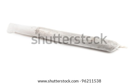 Marijuana joint isolated on white background. - stock photo