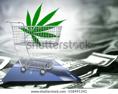 Marijuana leaf  in a cart. US dollars and credit card.  3D Render