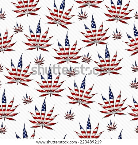 Marijuana Leaf with the colors of American flag Marijuana Leaf Pattern Repeat Background that is seamless and repeats - stock photo