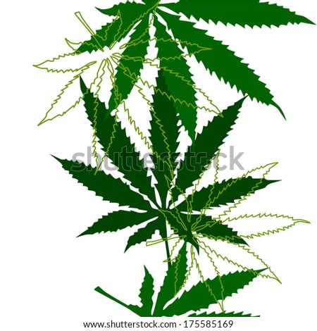 Marijuana leaves seamless background. Raster - stock photo