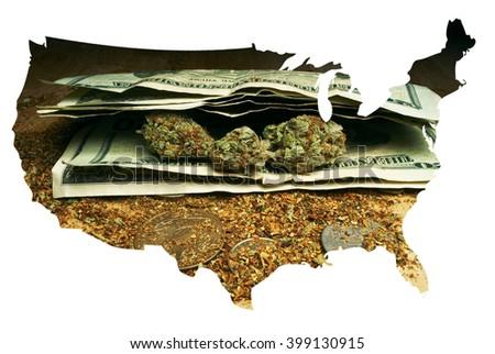Marijuana Legislation in the United States of America; American Weed   - stock photo