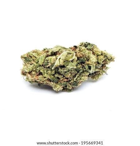 Marijuana Weed Ganja Pot and Cannabis on White Background  - stock photo